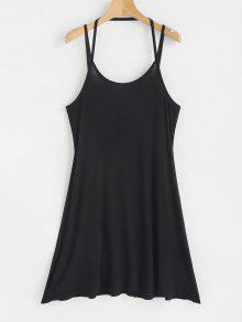 فستان ميني سترابي - أسود M