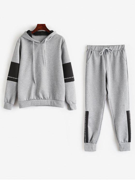 affordable Contrast Letter Hoodie Sweatpants Suit - GRAY M