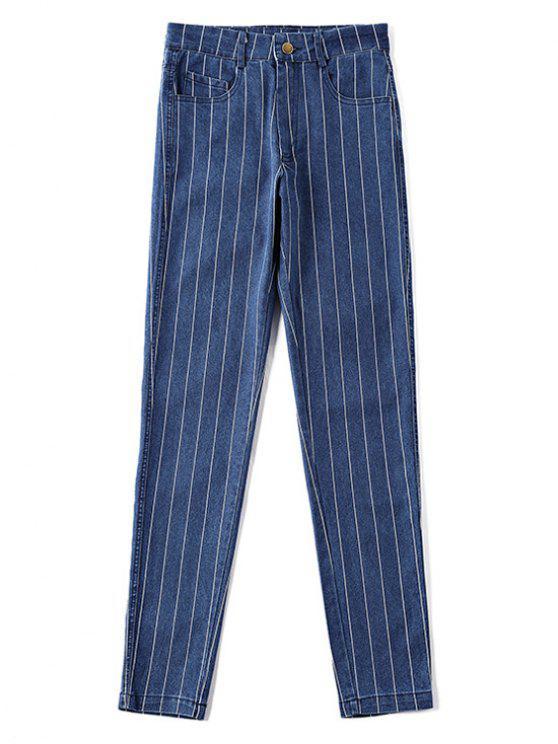 ladies High Waist Pockets Striped Jeans - DENIM DARK BLUE L