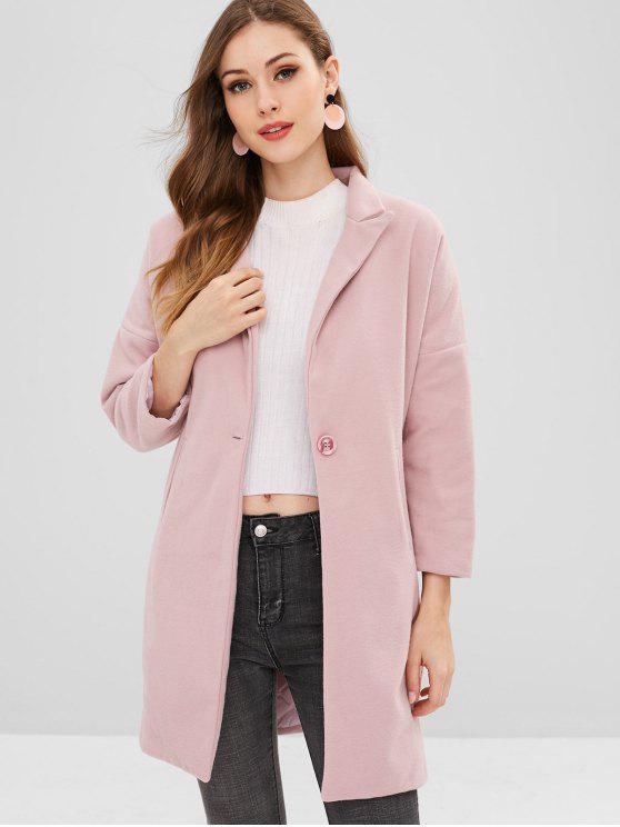 trendy Button Lapel Woolen Long Coat - PINK M