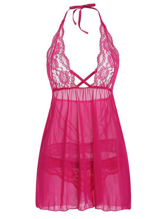 ebb5137701 Vestido de lencería de encaje transparente con cuello halter - Rosa  Profundo 2XL