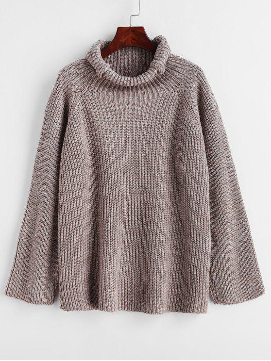 best Heathered Turtleneck Raglan Sleeve Sweater - DARK KHAKI ONE SIZE