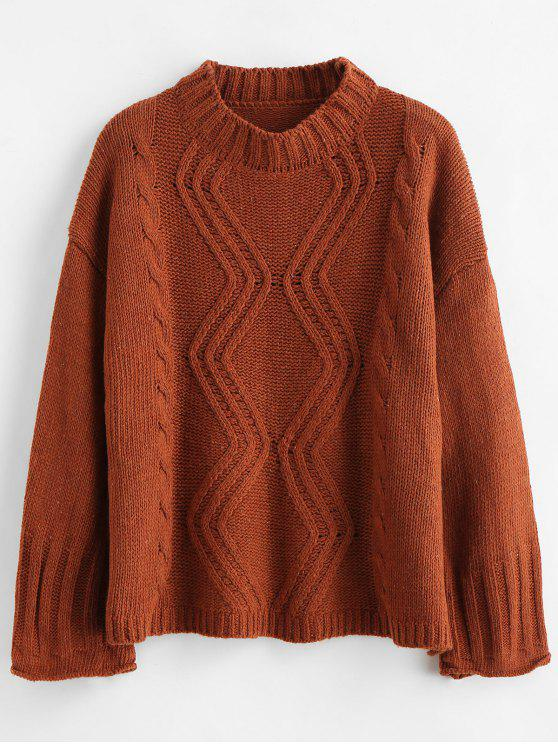 ladies Wide Sleeve Cable Knit Drop Shoulder Sweater - BROWN ONE SIZE