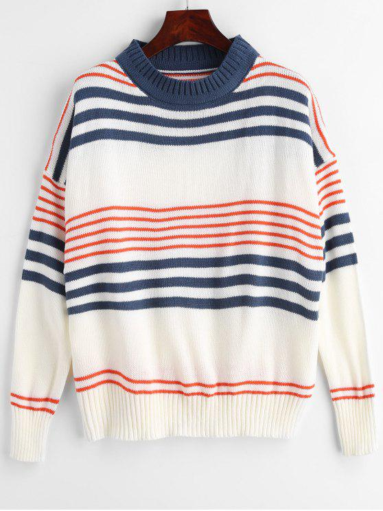 fashion Pullover Casual Stripes Sweater - MULTI ONE SIZE