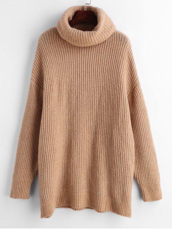 online Turtleneck Oversized Plain Sweater - CAMEL BROWN S