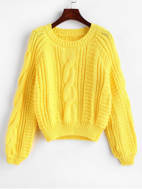 7cbef7782a00f 26% OFF  2019 Raglan Sleeve Cable Knit Chunky Sweater In YELLOW