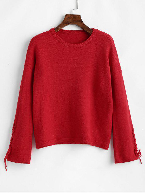 best Drop Shoulder Lace Up Sleeve Soft Sweater - RED ONE SIZE