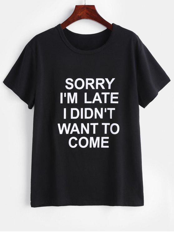 T-shirtGraphiqueà Col Rond - Noir 2XL