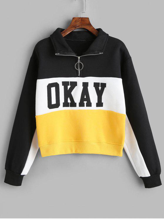 buy Okay Color Block Half Zip Sweatshirt - MULTI XL