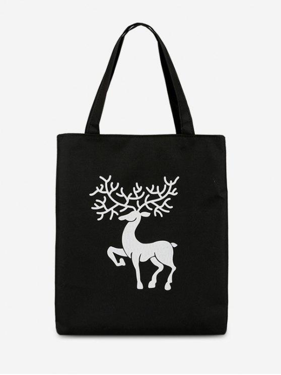 online Deer Printed Canvas Handbag - BLACK