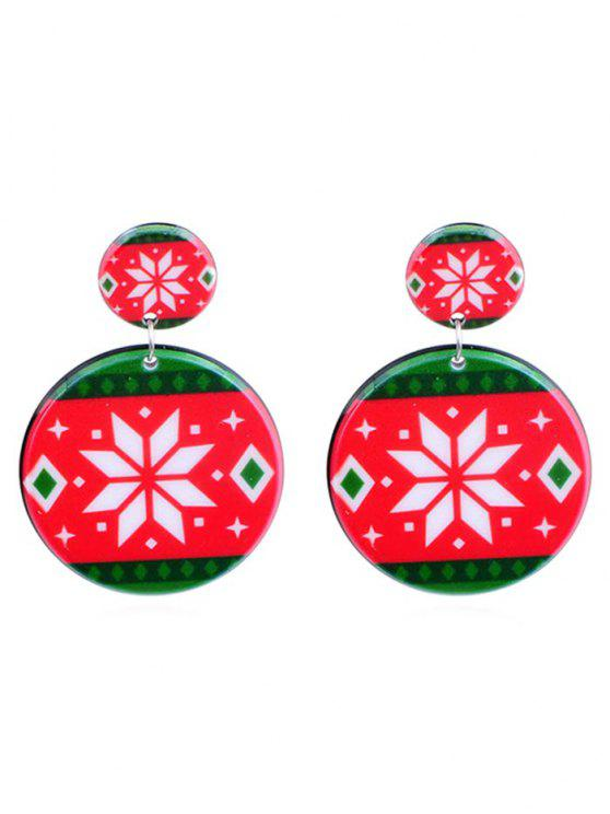 outfits Snowflake Print Geometric Round Earrings - MULTI-A