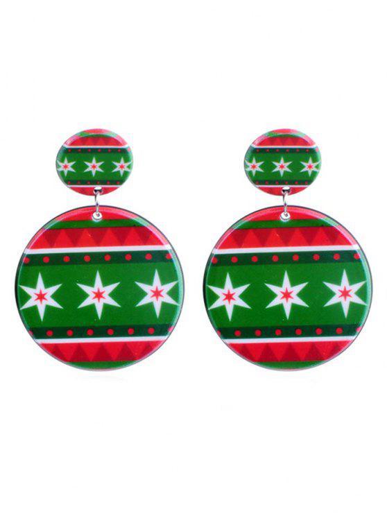 shop Snowflake Print Geometric Round Earrings - MULTI-D