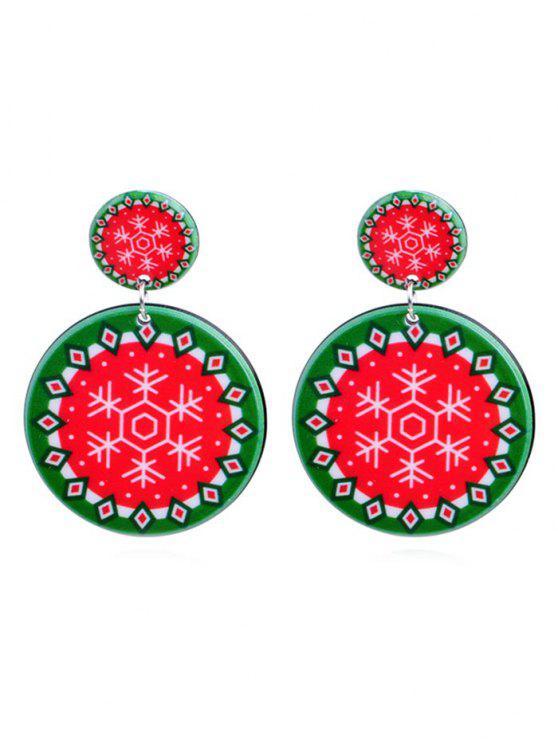 outfits Snowflake Print Geometric Round Earrings - MULTI-E