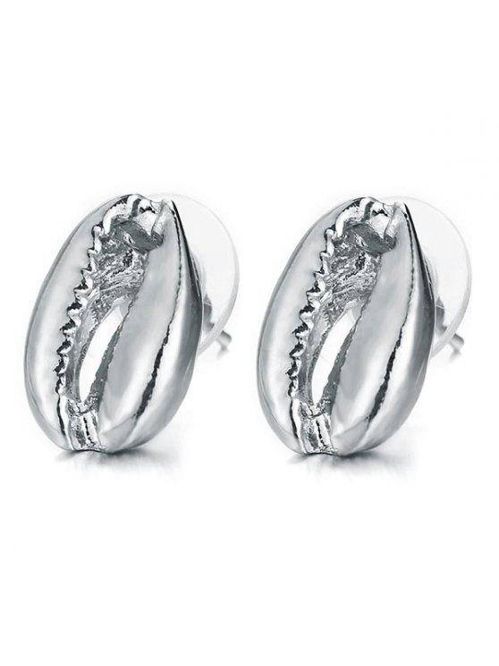 outfit Seashell Design Stud Earrings - SILVER