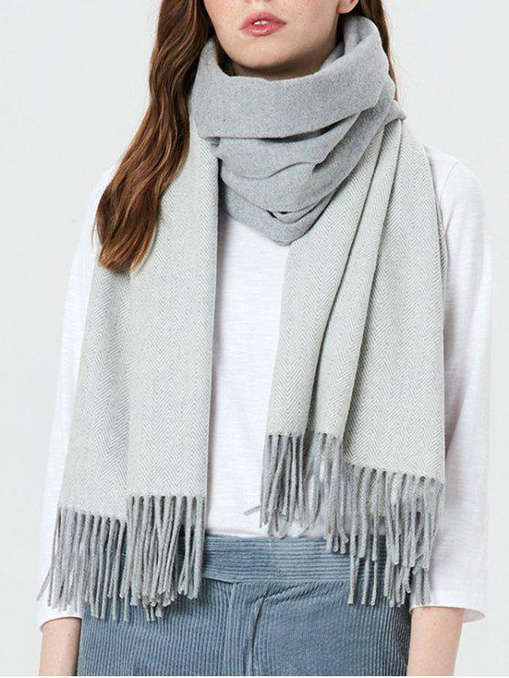affordable Color Block Fringed Holiday Scarf - LIGHT GRAY