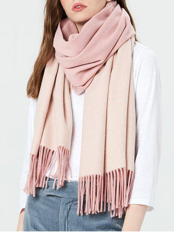 online Color Block Fringed Holiday Scarf - PINK