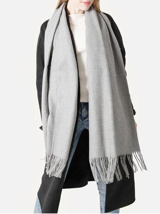 outfits Elegant Grey Fringed Shawl Scarf - GRAY CLOUD