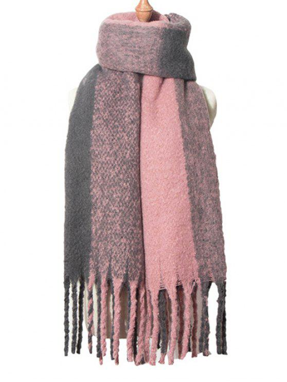 outfit Retro Reversible Fringed Shawl Scarf - PINK