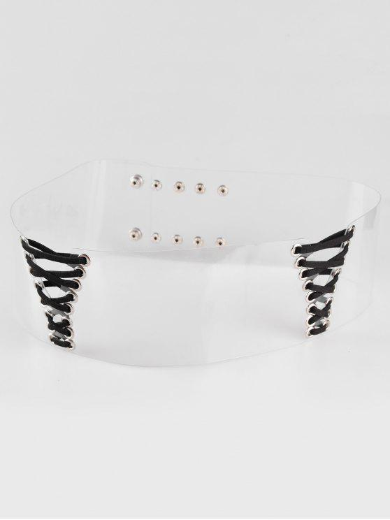 women's Retro Faux Leather Wide Waist Belt - TRANSPARENT