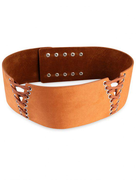 online Retro Faux Leather Wide Waist Belt - ORANGE SALMON