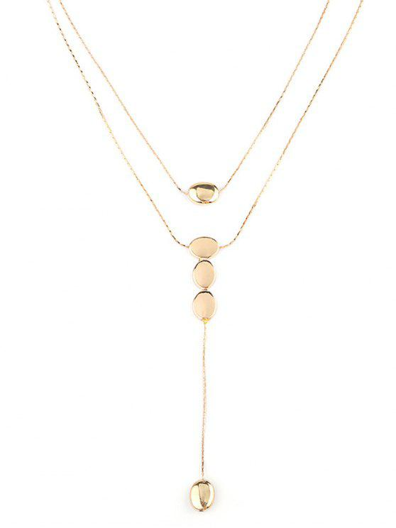 women Double Layered Water Drop Chain Necklace - GOLD