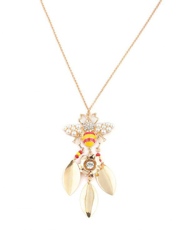 buy Leaf Tassel Rhinestone Honeybee Necklace - GOLD