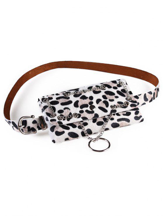 hot Punk Leopard Fanny Pack Belt Bag - WHITE