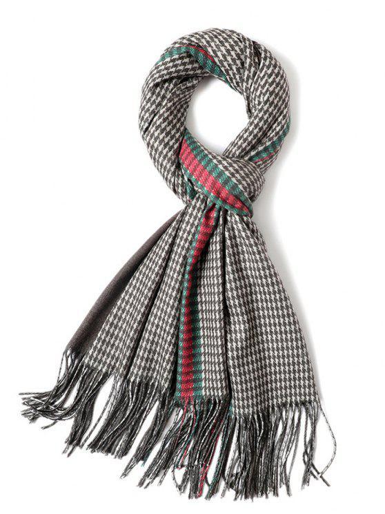 fashion Houndstooth Printing Tassel Warm Scarf - MULTI-B