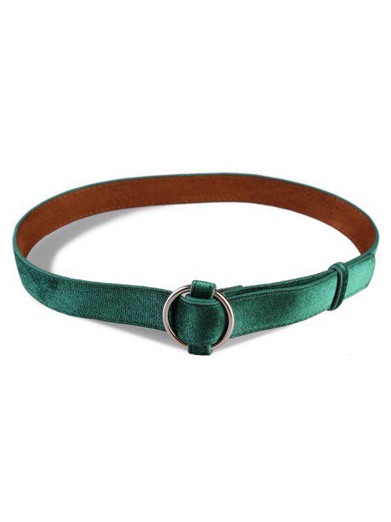 new Metal Round Buckle Suede Dress Belt - GREENISH BLUE