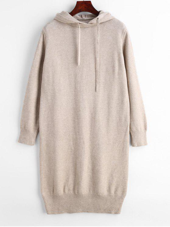 Vestido de camisola de manga comprida com capuz - Cáqui Claro Um Tamanho