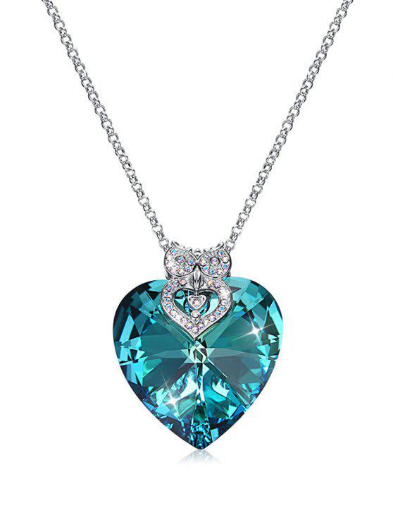 online Sterling Silver Heart Design Sweater Necklace - SILK BLUE
