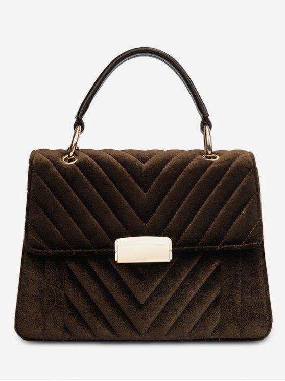 ladies Suede Leather Cover Design Handbag - COFFEE
