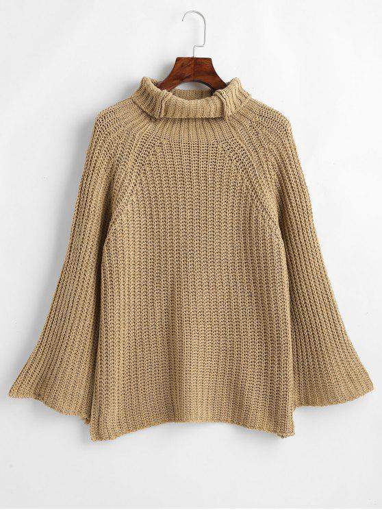 latest Wide Raglan Sleeve Turtleneck Sweater - CAMEL BROWN ONE SIZE