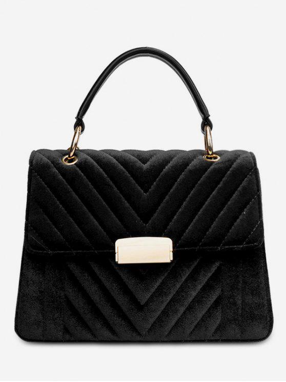 lady Suede Leather Cover Design Handbag - BLACK
