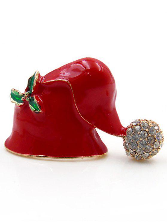 shop Christmas Hat Printed Rhinestone Brooch - RED