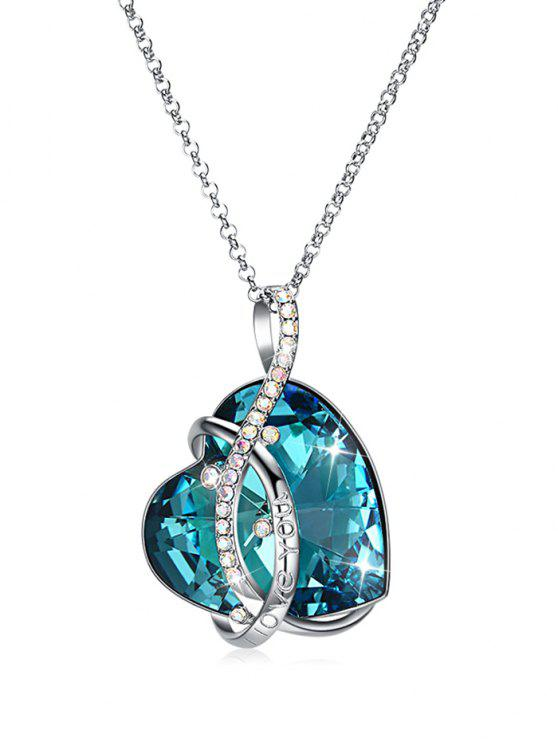women Irregular Heart Sweater Chain Necklace - SILK BLUE