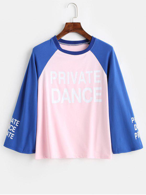 T-Shirt Con Maniche Lunghe A Blocchi Di Colore - Rosa Chiaro M