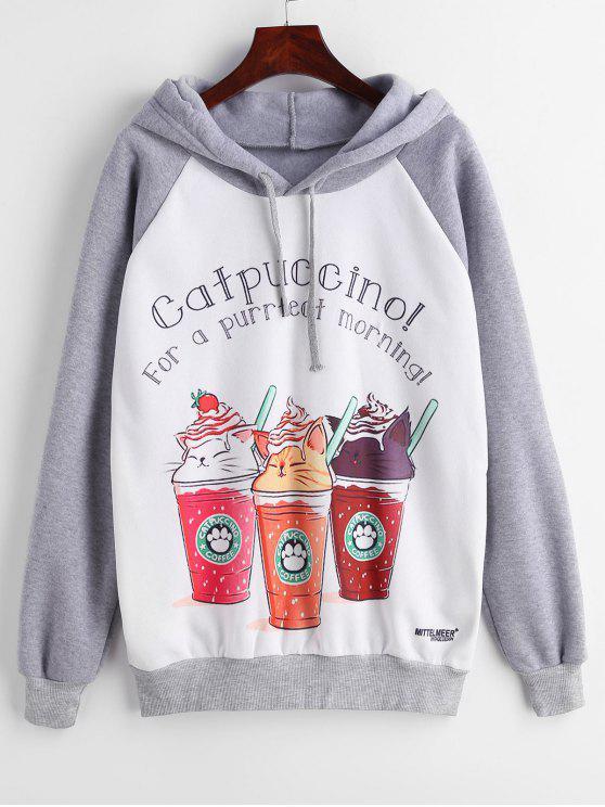 Felpa Con Cappuccio In Lana Stampata Caffe A Maniche Lunghe - Multi Colori M
