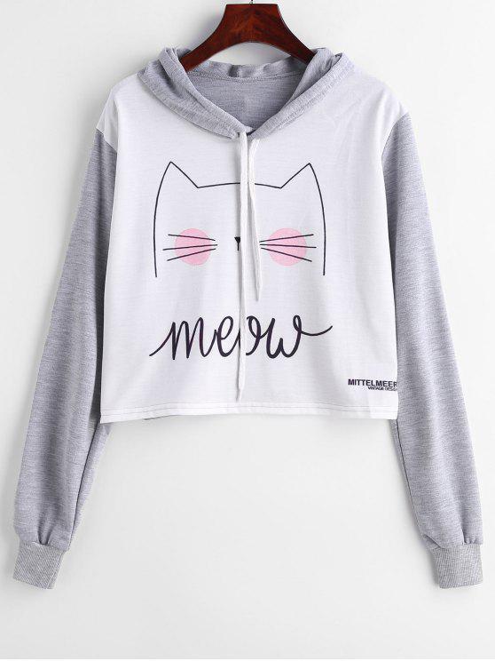 Sudadera con capucha y gráfico estampado con estampado de gatito - Multicolor S