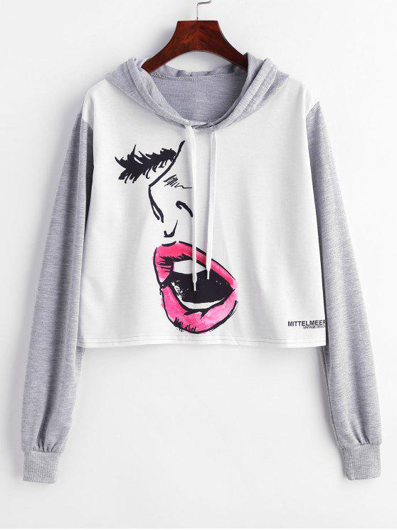 hot Raglan Sleeve Yawning Graphic Pullover Hoodie - MULTI M