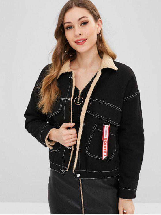 affordable Letter Embroidered Fluffy Lining Denim Jacket - BLACK S
