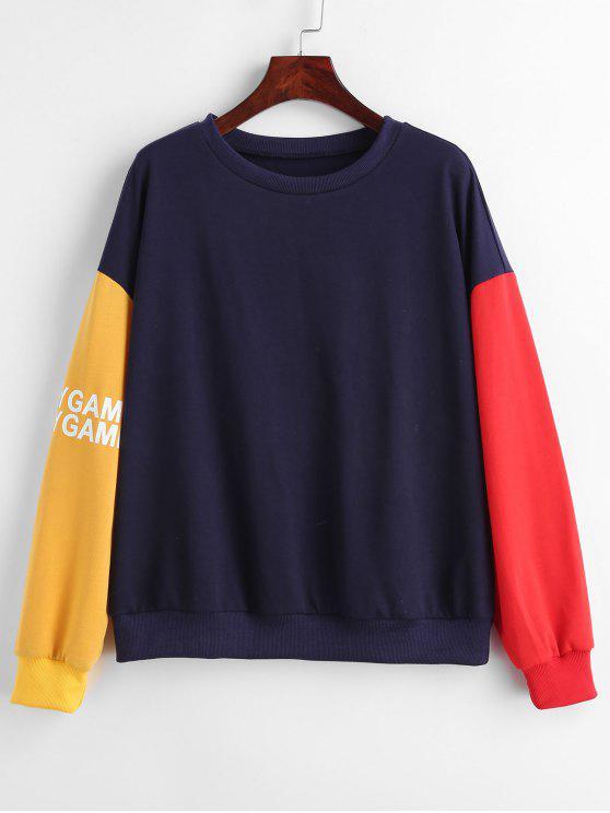 shop ZAFUL Color Block Drop Shoulder Letter Graphic Sweatshirt - MIDNIGHT BLUE S