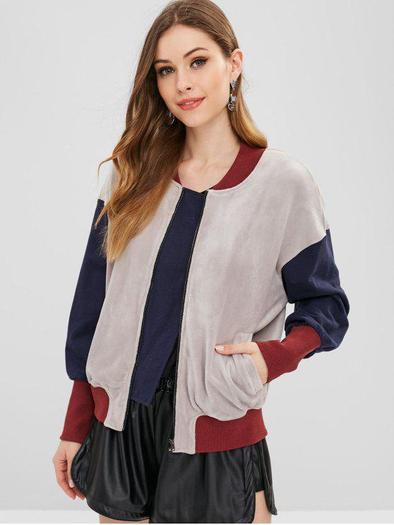 ladies ZAFUL Color Block Zip Velvet Jacket - MULTI M