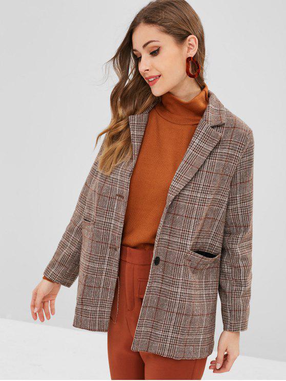 chic Button Up Plaid Lapel Coat - DARK KHAKI M