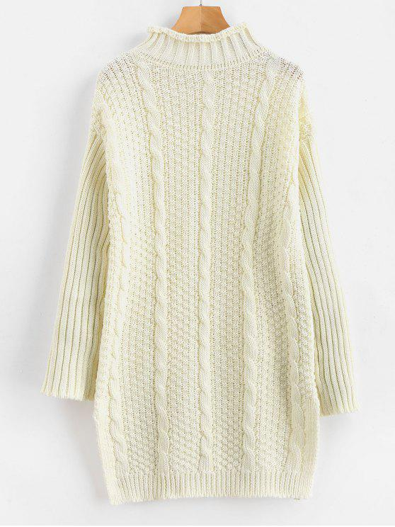 9057a23c5732 37% OFF  2019 Cable Knit Side Slit Long Sweater In WARM WHITE