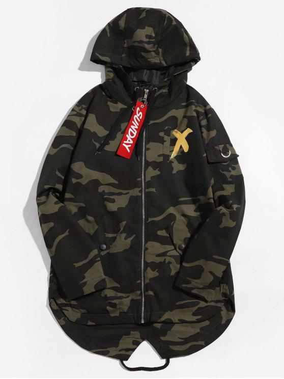 sale Camouflage Printed Back Split Hooded Jacket - GOLD L
