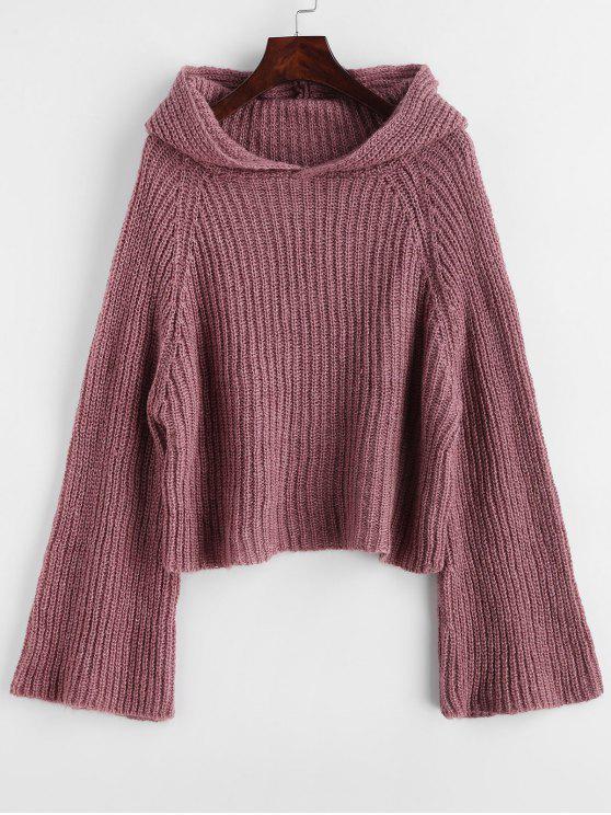 С капюшоном Flare рукавом Plain свитер - Бархатный тёмно-бордовый  Один размер