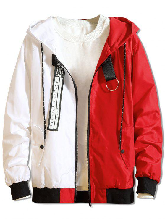 fashion Color Block Letter Patchwork Hooded Jacket - RED L