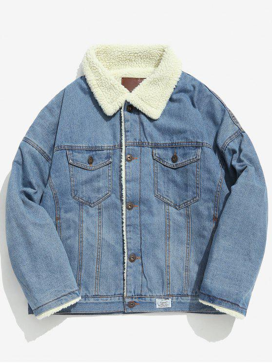 online Faux Fur Lined Thick Denim Jacket - DENIM BLUE L