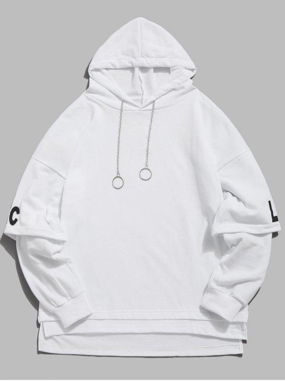 women's Streetwear False Two Piece Hoodie - WHITE XL